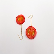 Cherry Tomato (half-size) Pierced Earrings - Fake Food Japan
