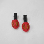 Cherry Tomato (quarter-size) Hair Clip (Pair Set) - Fake Food Japan