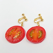 Cherry Tomato Slice Clip-On Earrings - Fake Food Japan