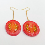 Cherry Tomato Slice Pierced Earrings - Fake Food Japan