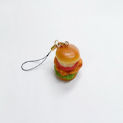 Chicken & Tomato Burger Cell Phone Charm/Zipper Pull - Fake Food Japan