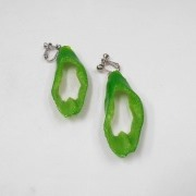 Cut Green Chili Pepper Clip-On Earrings - Fake Food Japan