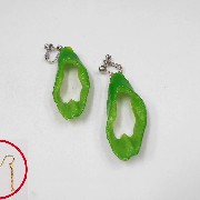 Cut Green Chili Pepper Pierced Earrings - Fake Food Japan