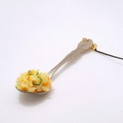 Fried Rice on Spoon (small) Cell Phone Charm/Zipper Pull - Fake Food Japan