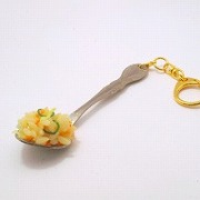 Fried Rice on Spoon (small) Keychain - Fake Food Japan