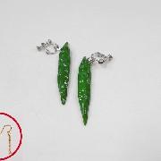 Green Chili Pepper (mini) Pierced Earrings - Fake Food Japan