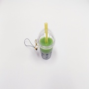 Green Tea (Matcha) Tapioca Drink (mini) Cell Phone Charm/Zipper Pull - Fake Food Japan