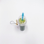 Green Tea (Matcha) with Whipped Cream (mini) Cell Phone Charm/Zipper Pull - Fake Food Japan