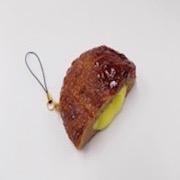 Hamburger Patty (Cheese-Filled) Cell Phone Charm/Zipper Pull - Fake Food Japan