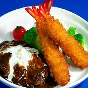 Hamburger Patty in Demi-Glace Sauce with Deep Fried Shrimp Replica - Fake Food Japan