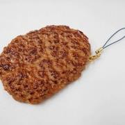 Hamburger Patty (large) Cell Phone Charm/Zipper Pull - Fake Food Japan