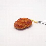 Hamburger Patty (medium) Cell Phone Charm/Zipper Pull - Fake Food Japan