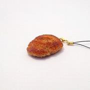 Hamburger Patty (medium) Cell Phone Charm/Zipper Pull - Fake Food Japan