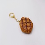 Hamburger Patty with Grill Marks Keychain - Fake Food Japan