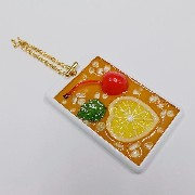 Iced Lemon Tea (Half-Size Small Lemon Slice) Pass Case with Charm Bracelet - Fake Food Japan