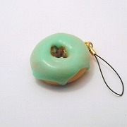 Melon Frosted Chocolate Doughnut (small) Cell Phone Charm/Zipper Pull - Fake Food Japan