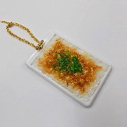 Natto (Fermented Soybeans) & Rice Pass Case with Charm Bracelet - Fake Food Japan
