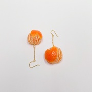 Orange (Heart-Shaped) Pierced Earrings - Fake Food Japan