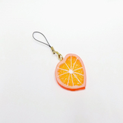 Orange Slice (Heart-Shaped) Cell Phone Charm/Zipper Pull - Fake Food Japan