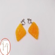 Orange Slice (quarter-size) Pierced Earrings - Fake Food Japan