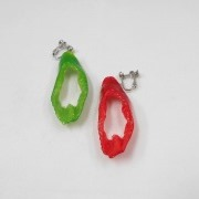 Red & Green Chili Pepper (cut) Clip-On Earrings - Fake Food Japan