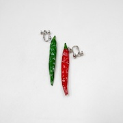 Red & Green Chili Pepper (mini) Clip-On Earrings - Fake Food Japan