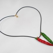 Red & Green Chili Pepper (mini) Necklace - Fake Food Japan
