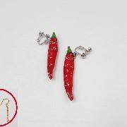 Red Chili Pepper (mini) Pierced Earrings - Fake Food Japan