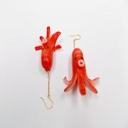 Sausage (Octopus-Shaped) Pierced Earrings - Fake Food Japan