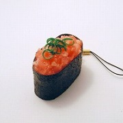 Scallion & Tuna Battleship Roll Sushi Cell Phone Charm/Zipper Pull - Fake Food Japan