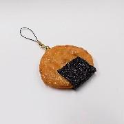 Senbei (Japanese Cracker) with Seaweed (large) Cell Phone Charm/Zipper Pull - Fake Food Japan