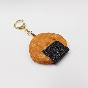 Senbei (Japanese Cracker) with Seaweed (large) Keychain - Fake Food Japan