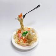 Spaghetti with Salmon & Cream Sauce Small Size Replica (Pencil/Pen Stand Version) - Fake Food Japan