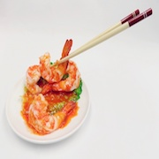 Stir-Fried Shrimp with Chili Sauce & Chopsticks Smartphone Stand - Fake Food Japan