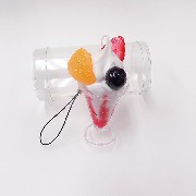 Strawberry Parfait (mini) Cell Phone Charm/Zipper Pull - Fake Food Japan