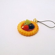 Strawberry Sauce-Filled Kiwi, Raspberry & Blueberry Cookie Cell Phone Charm/Zipper Pull - Fake Food Japan