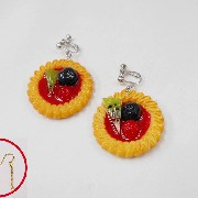 Strawberry Sauce-Filled Kiwi, Raspberry & Blueberry Cookie Pierced Earrings - Fake Food Japan