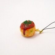 Takoyaki (Fried Octopus Ball) (small) Cell Phone Charm/Zipper Pull - Fake Food Japan