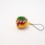 Takoyaki (Fried Octopus Ball) with Mayonnaise (small) Cell Phone Charm/Zipper Pull - Fake Food Japan