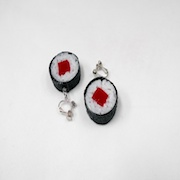 Tuna Roll Sushi (round) Clip-On Earrings - Fake Food Japan