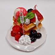 Waffles Topped with Berries, Ice Cream & Whipped Cream Small Size Replica - Fake Food Japan
