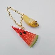 Watermelon (small) Ver. 2 & Whole Peeled Ripened Banana Bag Charm - Fake Food Japan