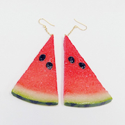 Watermelon (small) Ver. 2 Pierced Earrings - Fake Food Japan