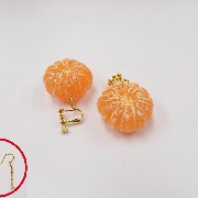Whole Peeled Orange (small) Pierced Earrings - Fake Food Japan