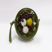 Zenzai Matcha (Sweet Red Bean & Green Tea Soup) Circular Purse - Fake Food Japan